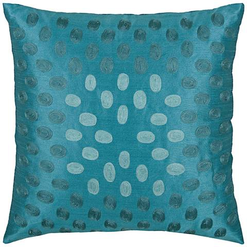 "Emily Oval Sheen Peacock Blue 18"" Square Throw Pillow"
