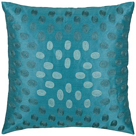 """Emily Oval Sheen Peacock Blue 18"""" Square Throw Pillow"""