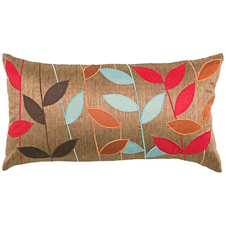 "Claudia Multi-Color Leaf Brown 21"" x 11"" Throw Pillow"