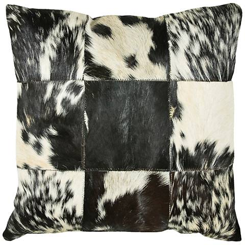 "Parton Cowhide Black and White 18"" Square Throw Pillow"