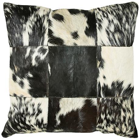 "Parton Cowhide Black and White 18"" Square Throw Pillow"