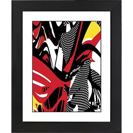 "Swirl Center Black Frame Giclee 23 1/4"" High Wall Art"
