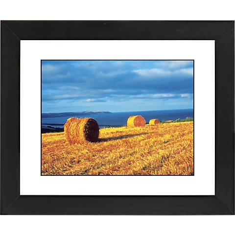 "Hay Bales Black Frame Giclee 23 1/4"" Wide Wall Art"