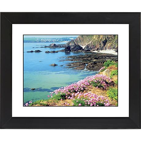 "Seaside Flowers Black Frame Giclee 23 1/4"" Wide Wall Art"