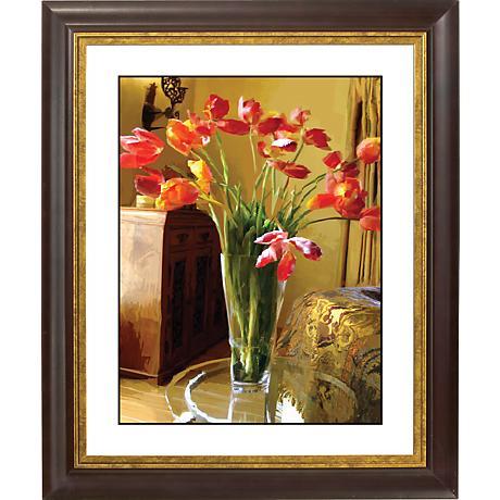 "Spring Flowers II Gold Bronze Frame Giclee 20"" High Wall Art"