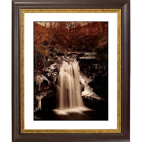 "Waterfall II Gold Bronze Frame Giclee 20"" High Wall Art"