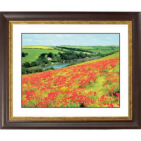 "Poppy Fields Gold Bronze Frame Giclee 20"" Wide Wall Art"