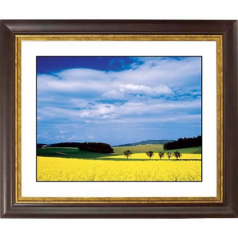 """Mustard Flowers Gold Bronze Frame Giclee 20"""" Wide Wall Art"""