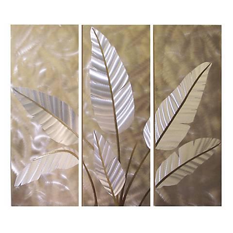 """Metallic Leaves Metal 52"""" Wide Wall Art"""