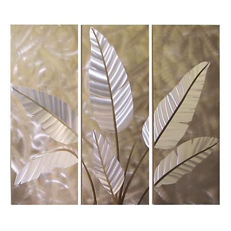 "Metallic Leaves Metal 52"" Wide Wall Art"