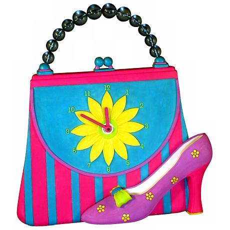 """Pastel Colored Girl Purse 14"""" Wide Tabletop Clock"""