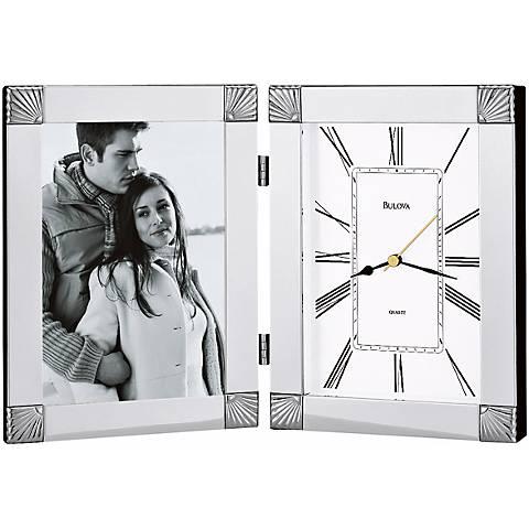 "Bulova Ceremonial Photo Frame 12 1/2"" Wide Clock"