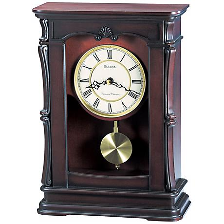 "Abbeville Walnut 13 1/4"" High Bulova Mantel Clock"