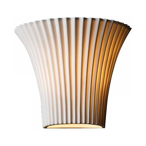 """Limoges Collection Flared Pleated 8 1/4"""" Wide  Wall Sconce"""