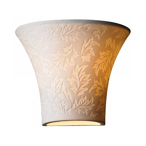 "Limoges Collection Flared Leaves 6 3/4"" High Wall Sconce"