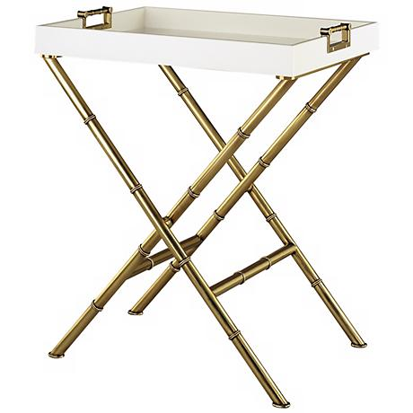 Jonathan Adler Meurice Antique Brass Butler Tray Table