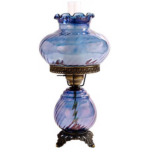 Blue Swirl Optic Shade Night Light  Hurricane Table Lamp