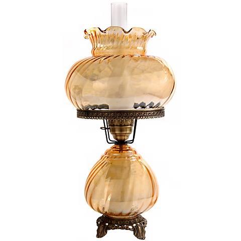 Large Amber Swirl Optic Night Light Hurricane Table Lamp