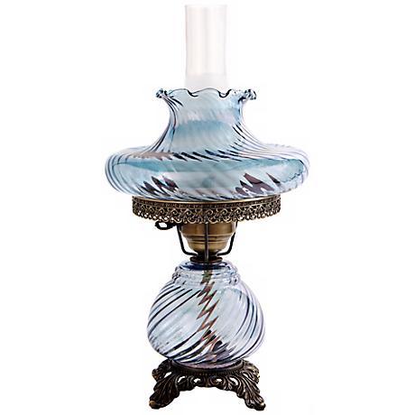 Blue Tamoshanta Swirl Night Light Hurricane Table Lamp