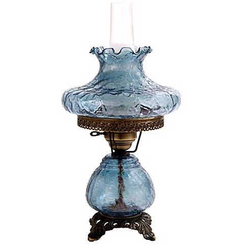 Blue Crackle Tamoshanta Night Light Hurricane Table Lamp