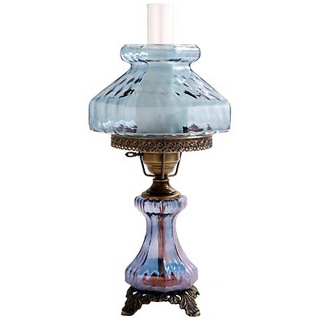 Large Blue Rhombus Night Light Hurricane Table Lamp