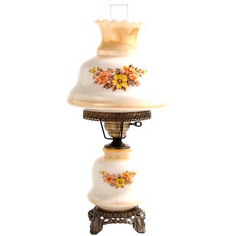 Small Earth Tone Floral Night Light Hurricane Table Lamp