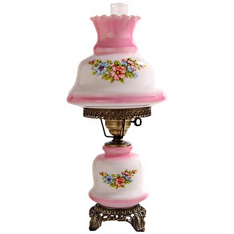 Small Pink Tint Floral Night Light Hurricane Table Lamp