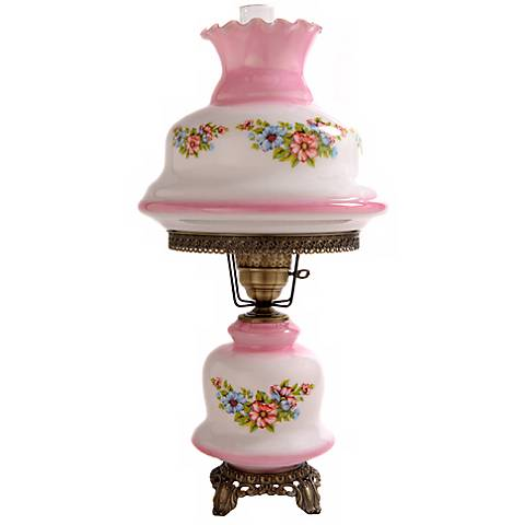Large Pink Tint Floral Night Light Hurricane Table Lamp