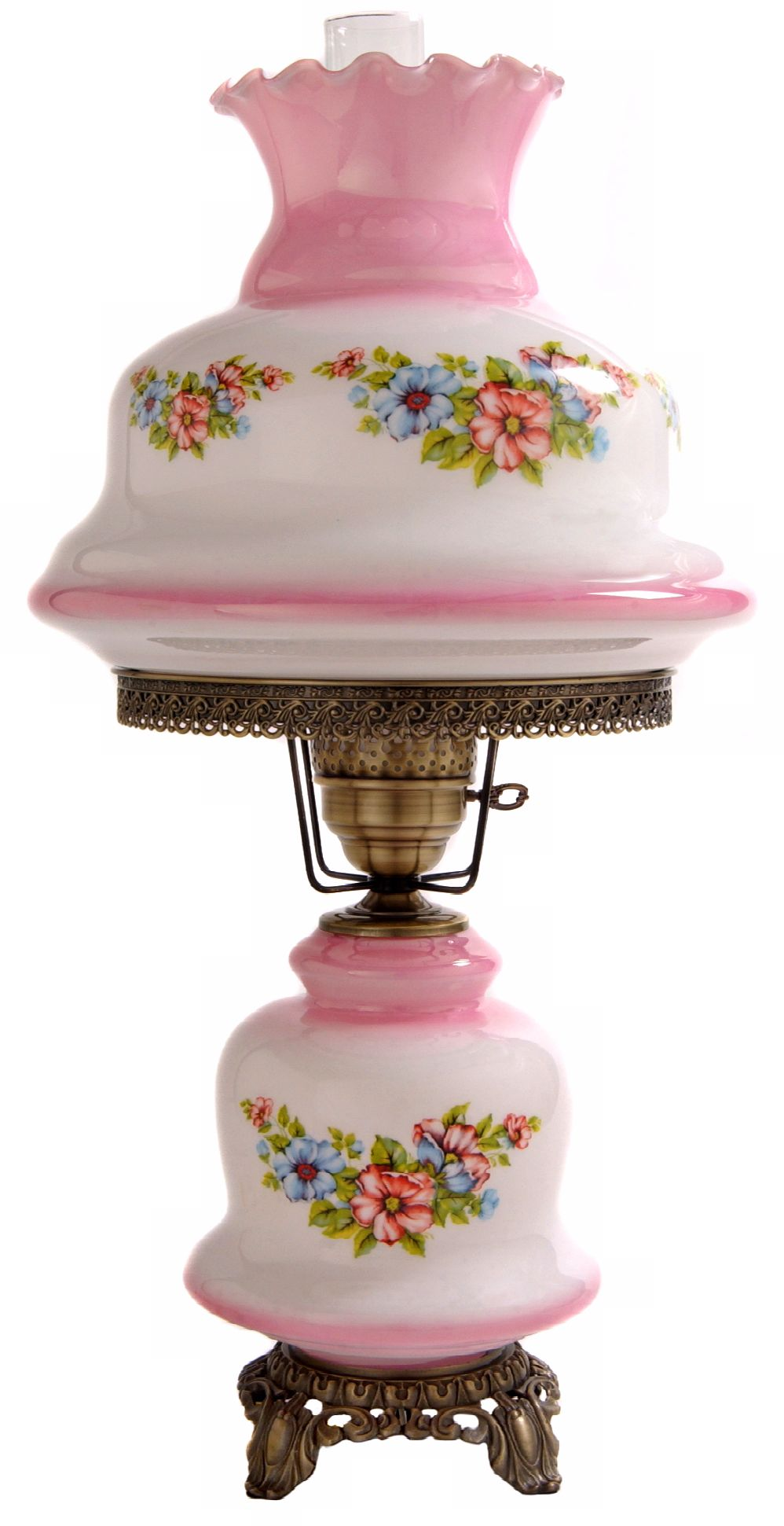 Large Pink Tint Floral Night Light Hurricane Table Lamp