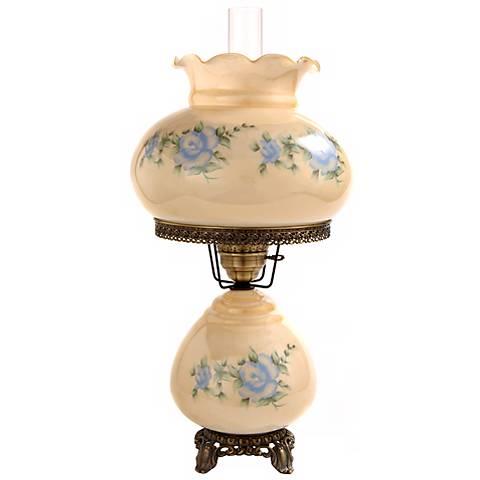 Large Blue Rose Night Light Hurricane Table Lamp