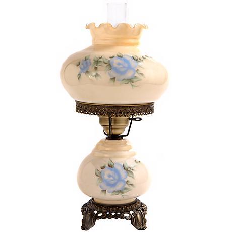 small blue rose night light hurricane table lamp f7965 lamps plus. Black Bedroom Furniture Sets. Home Design Ideas