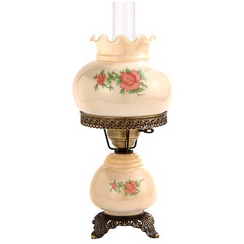 """Small Red Rose 18"""" High Night Light Hurricane Table Lamp"""
