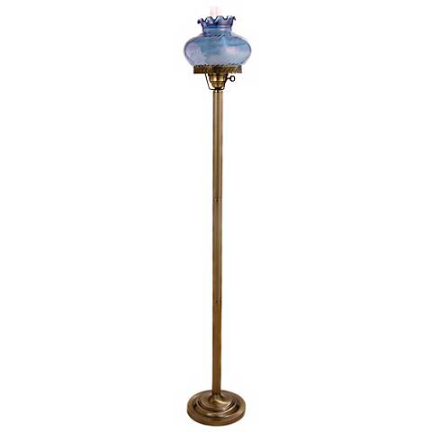 Lilac Blue Student-Style Glass Hurricane Floor Lamp