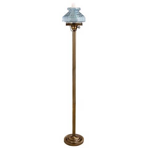 Lilac Blue Octagon Glass Hurricane Floor Lamp