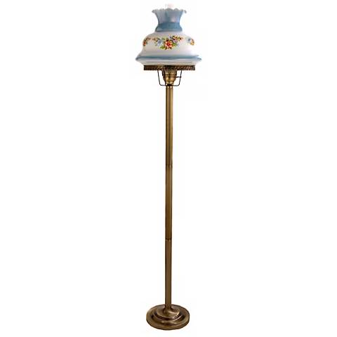Floral Blue Hurricane Floor Lamp