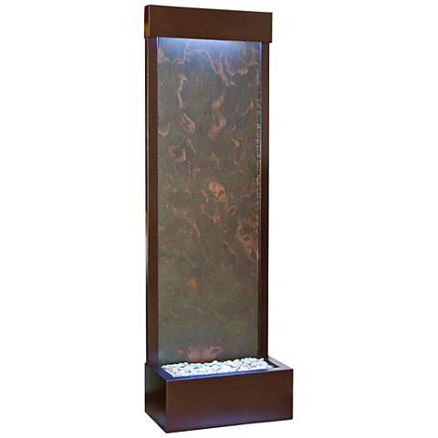 """Gardenfall 90"""" LED Copper Vein Indoor/Outdoor Slate Fountain"""