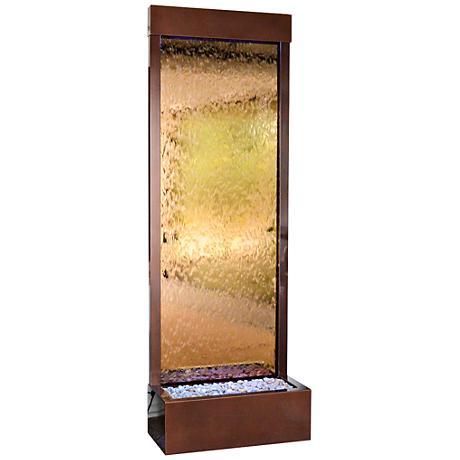 """Gardenfall 90"""" LED Bronze Mirror Indoor/Outdoor Fountain"""