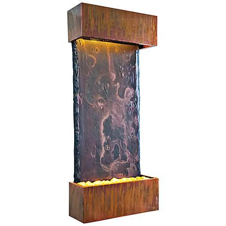 Patina Copper Medium Nojoqui Falls Fountain with Light