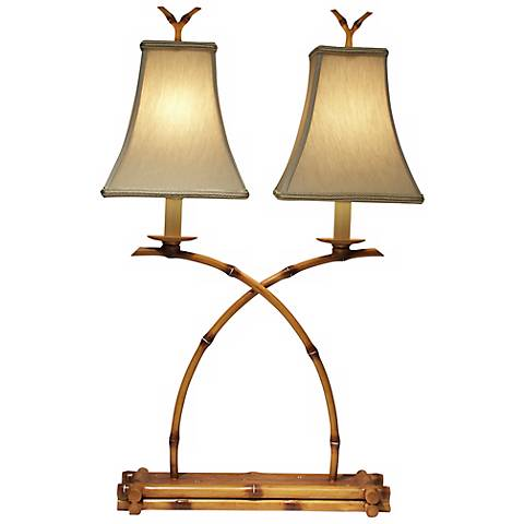 Double Bamboo Cane Accent Lamp by The Natural Light