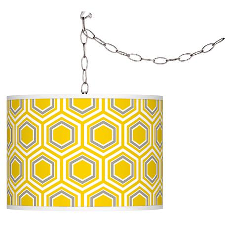 Swag Style Honeycomb Giclee Shade Plug-In Chandelier