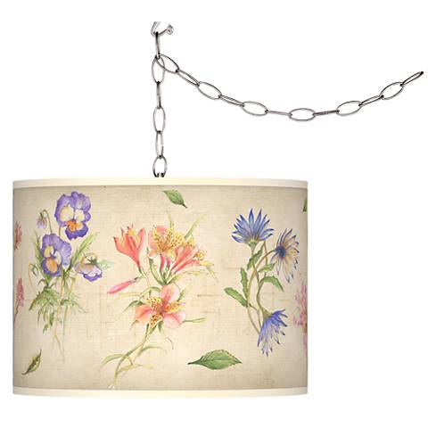 Swag Style Floral Fancy Giclee Shade Plug-In Chandelier