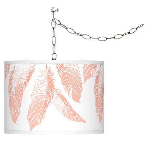 Swag Style Soft as a Feather Giclee Shade Plug-In Chandelier