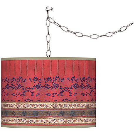 Swag Style Rafiki Red Giclee Shade Plug-In Chandelier