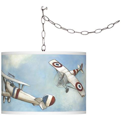 Swag Style Vintage Flight Giclee Shade Plug-In Chandelier