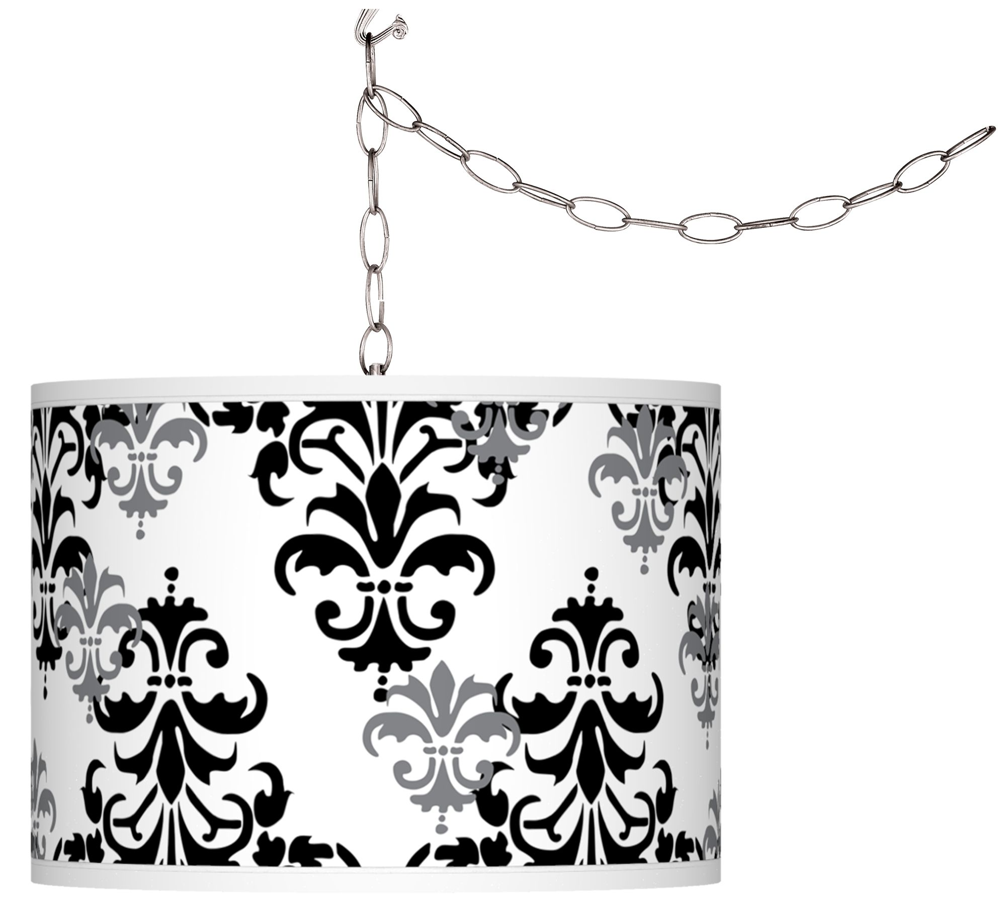 swag style damask shadow giclee shade plugin chandelier