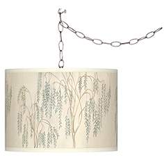 Outdoor Plug In Chandelier: Swag Style Weeping Willow Giclee Shade Plug-In Chandelier,Lighting