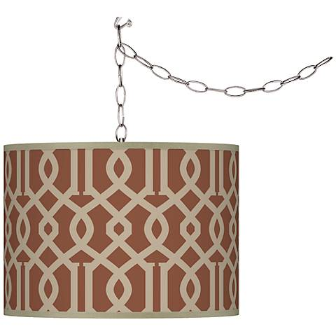 Swag Style Sand Chain Reaction Giclee Plug-In Chandelier