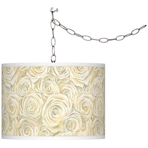 Swag Style Cream Roses Giclee Shade Plug-In Chandelier