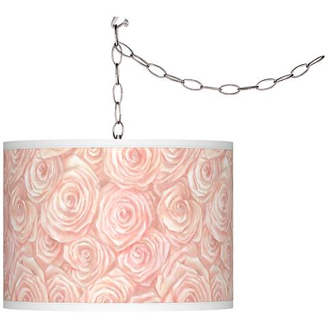 Swag Style Pink Roses Giclee Shade Plug-In Chandelier