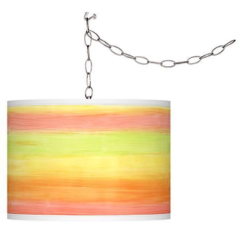 Swag Style Rainbow Mist Giclee Shade Plug-In Chandelier